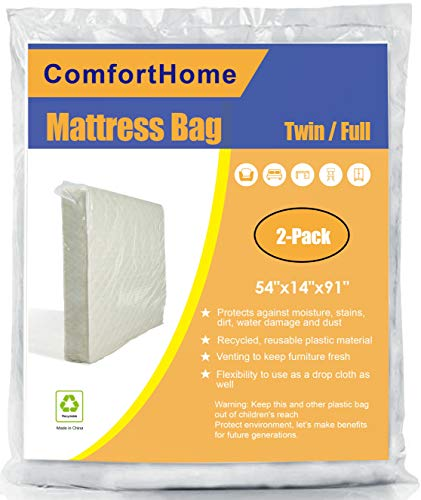 ComfortHome 2 Pack Mattress Bag for Moving and Storage, Twin/Full Size