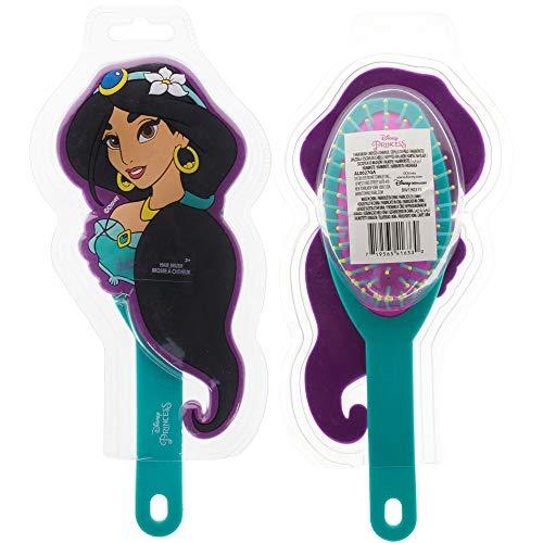Townley Girl Disney Princess Jasmine Molded Detangling Hair Brush for All Hair Types for Girls, Green Aladdin, Ages 3+