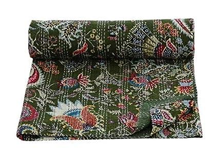 537bfeca2cb Amazon.com: textile treasure Indian Handmade Quilt Cover Blanket ...