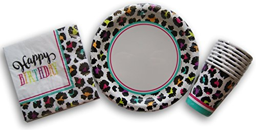 Rainbow Cheetah Birthday Party Set - Plates, Napkins, Cups by Designware