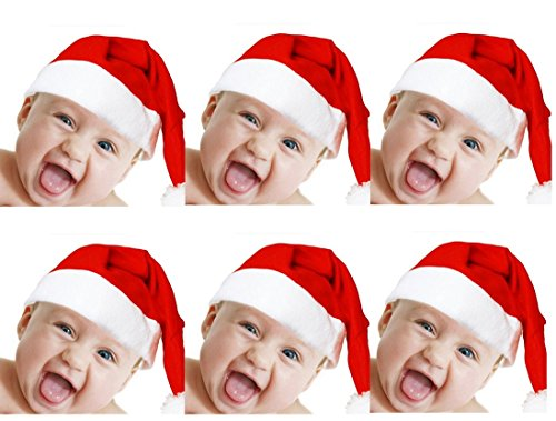 10pcs Kids Christmas Santa Claus Hat Classic Red Cap For Xmas Party (Santa Claus Cap)