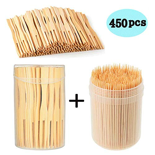 Mini Food Picks Party Banquet Buffet Catering Daily Life. Toothpicks Appetizer, Olive, Barbecue, Fruit, Pastry, Dessert,Teeth Cleaning Bamboo Forks 100 Pcs &Wooden Toothpicks 350 Pcs /3.5 Inch
