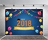 Leyiyi 6x4ft Photography Backgroud College Graduation Party Backdrop Class of 2018 Banner Flags Ballon Lights Congratulation Banquet Bachalor Ph D Photo Portrait Vinyl Studio Video Prop