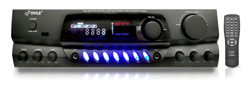4) Pyle PLMR24B 3.5'' 200W Box Speakers + PT260A Home Digital Stereo Receiver