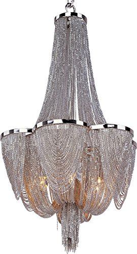 Polished Nickel Single Light - Maxim 21464NKPN Chantilly 6-Light Chandelier, Polished Nickel Finish, Glass, G9 Xenon Xenon Bulb, 100W Max, Wet Safety Rating, Standard Dimmable, Glass Shade Material, 1150 Rated Lumens
