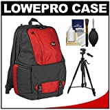 Lowepro Fastpack 350 Backpack Digital SLR Camera Case (Red) + Tripod + Accessory Kit for Canon EOS 70D, 6D, 5D Mark III, Rebel T3, T5i, SL1, Nikon D3100, D3200, D5200, D7100, D600, D800, Sony Alpha A65, A77, A99, Best Gadgets