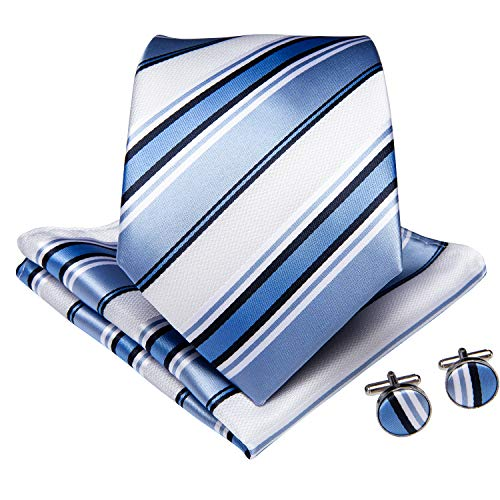 (DiBanGu Men's Silk Tie and Pocket Square Stripe Woven Tie Cufflink Clip Set Business (Blue and White))