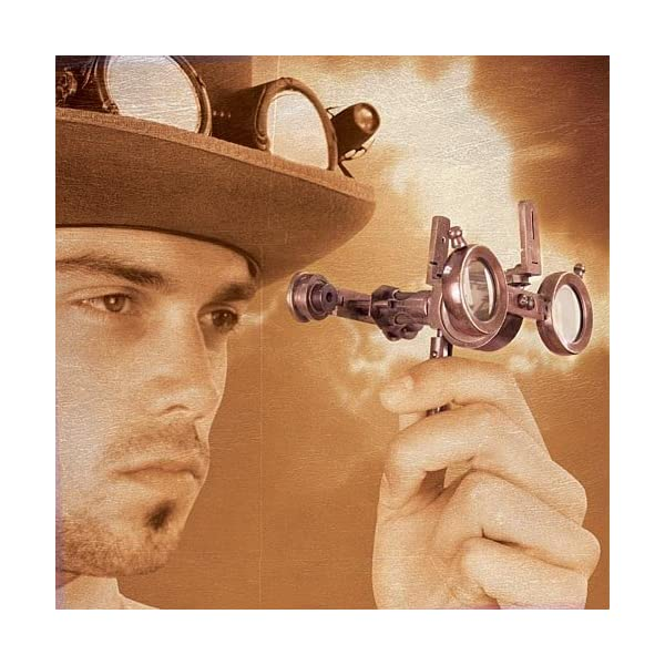 Steampunk Folding Binoculars w/Compass - Brass Opera Glasses 3