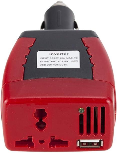 Fuente de alimentaci/ón del Encendedor de Cigarrillos 150W 12V DC a 220V Adaptador de Corriente alterna del Coche con el Puerto de Carga USB