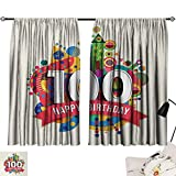 100th Birthday Drapes/Draperies Geometrical Abstract Digital Print with Shapes Castle Boat Birthday Party Curtains,Extra Darkening Curtains Multicolor W55 x L39