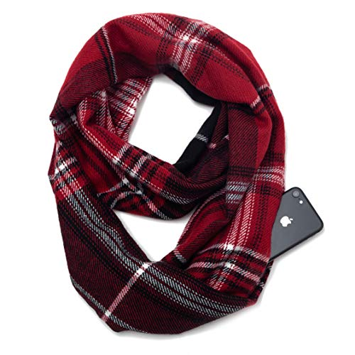 (Travel Scarves with Zipper Pocket Girls Lightweight Plaid Tartan Infinity Scarf for Women Girls Ladies (Z3-rd))