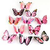 Fulltime(TM) 12 Pcs 3D Butterfly Wall Sticker Fridge Magnet Room Decor Decal Applique For Kids Living Room Bedroom Bathroom Office Home Decoration (Pink)