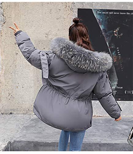 Cappuccio Donna Grigio Colori Giaccone Abbigliamento Giacche Solidi Con Manica In Addensare Outwear Pelliccia Moda Alta Inverno Piumino Caldo Invernali Eleganti Lunga Cappotti Vita qX55Bfw