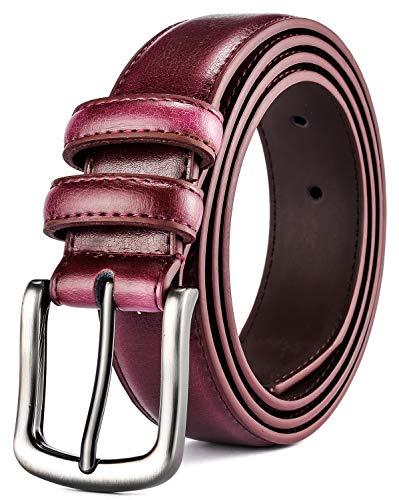 Mens Belt,HW Zone Genuine Leather Dress Belt Classic Casual 1 1/4