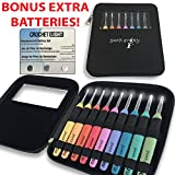 Lighted Crochet Hooks Value Pack 9/pkg set and Case w/ 3 Pack Replacement Batteries - LED Lite Hooks - Ergonomic Handle Grips 9 Hooks Kit for Arthritic Hands Size 2,5mm To 6,5mm(Black with Batteries)