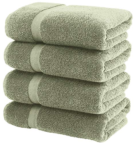 White Classic Luxury Bath Towels Large – Cotton Hotel spa Bathroom Towel | 27×54 | 4 Pack | Green