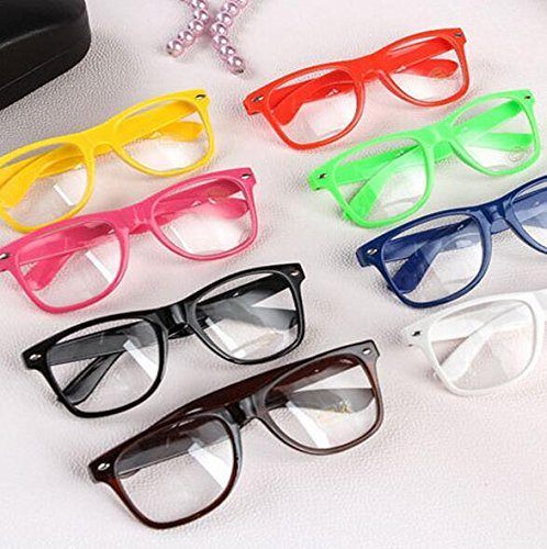 20 Pack Clear Lens Glasses- Hott Rimm Assorted Colored Nerdy Party Glasses for Kids & Adults - Perfect for Birthday, Proms, Bachelorette Party, Events and More. - Wholesale Glasses Nerd