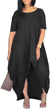 Remelon Women Short Sleeve Loose Fit Ruched High Low Asymmetrical Swing T Shirt Long Maxi Dress