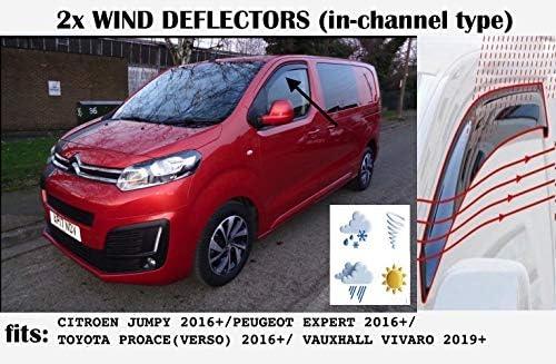 Verso Vauxhall Vivaro Zafira Life 2016 2017 2018 2019 2020 2021 2022 Rain Guard Sun Visor 2 Wind Deflectors made for Citroen Dispatch Jumpy SpaceTourer Peugeot Expert Traveller Toyota ProAce