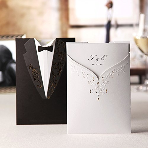 Invitation cards amazon wishmade 50x groom bridal white and black laser cut wedding invitations invites card stock for engagement party bridal shower cw2011 stopboris Image collections