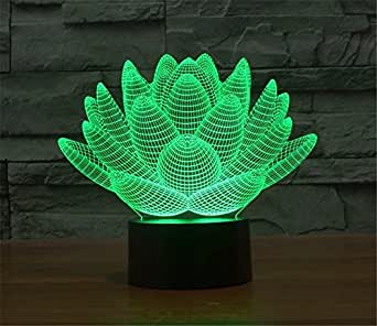 LOTOS® Blooming Lotus 3D Model Abstract Visual Optical Illusion 7 Color Change Touch Switch Nightlight LED Desk Lamp