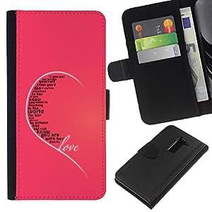 KLONGSHOP // Tirón de la caja Cartera de cuero con ranuras para tarjetas - Amor oído Rosa Cita corazón verdades Incondicional - LG G2 D800 //