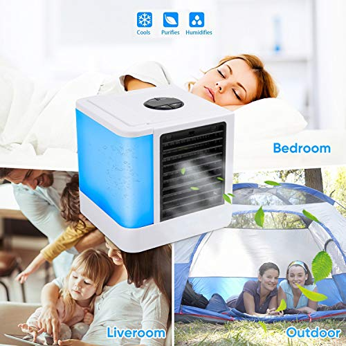 UOKOO Personal Air Cooler, Mini USB Personal Space Air Conditioner Personal Space Air Cooler, Humidifier, Desktop Cooling Fan for Office Household Outdoors