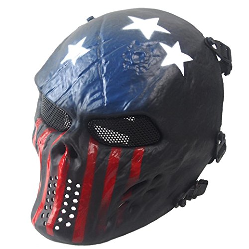 Doinshop Halloween Airsoft Paintball Full Face Skull Skeleton Tactical Military Mask (Dark Blue) -