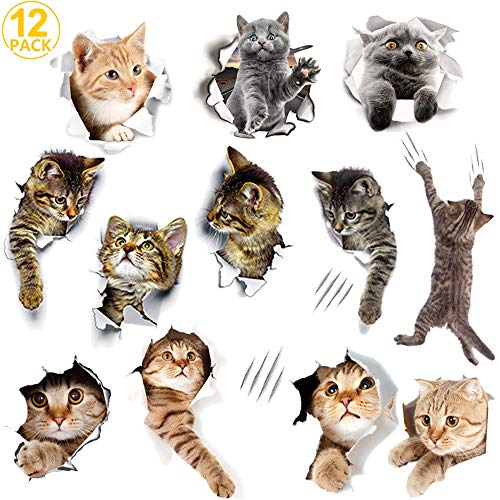 WMdecal 12PCS Removable 3D Cartoon Animal Cats Vinyl Wall Stickers Easy to Peel and Stick Cute Cat Wallpaper Murals for Nursery Room Toilet Kitchen Offices