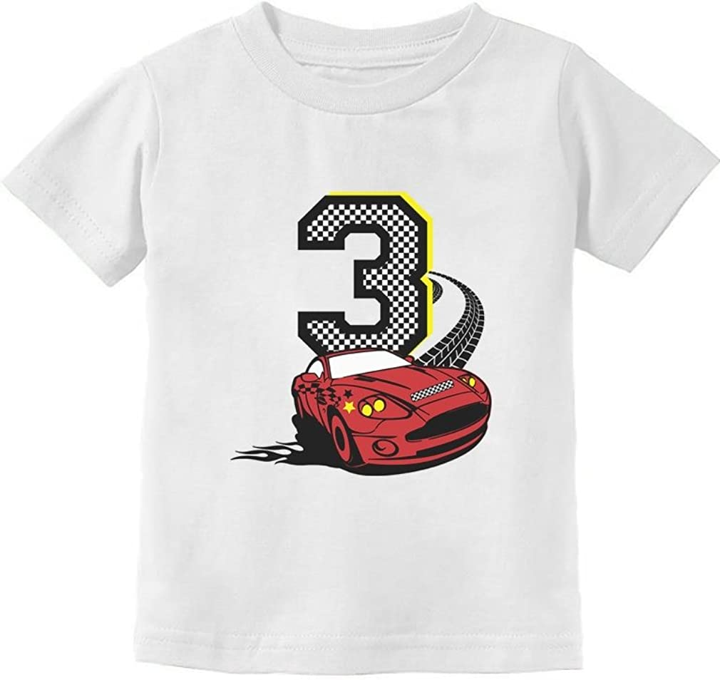 3rd Birthday 3 Year Old Boy Race Car Party Toddler Kids T-Shirt