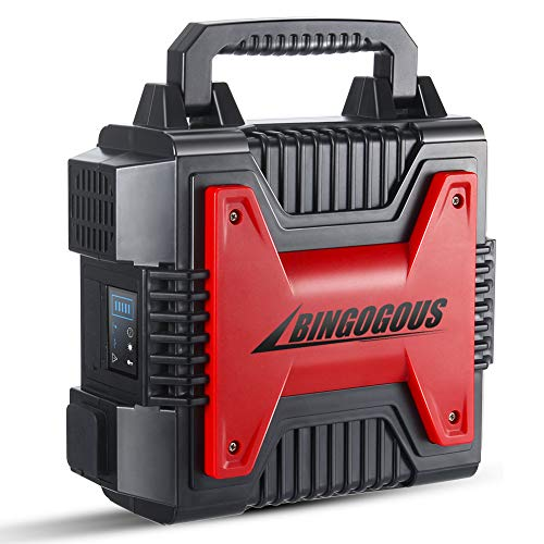 Bingogous Upgrade Portable Generator, 296Wh 300W Power Station with 110V AC Outlet,12V Cigarette Lighter Output, USB Output for Home Camping CPAP Emergency Battery Backup Charged Solar Panel Wall Out