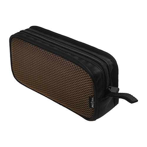 Case Star Travel Organizer Carrying Zipper Mesh Case for Kinivo BTC450 Bluetooth USB HDMI Cable Audio Male to Male/Female Cat RJ45 Ethernet Patch Cable (Black Case with Brown Mesh - L)