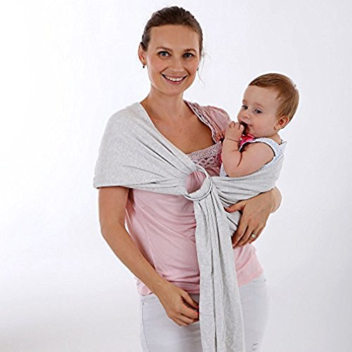 Adjustable Ring Sling Baby Carrier - Aoheuo Breathable Healthy Baby Ring Sling Perfect For Newborns Infants Babies Toddlers Shower, Breastfeeding With Privacy And One Size Fits All (White Ash) by Aoheuo