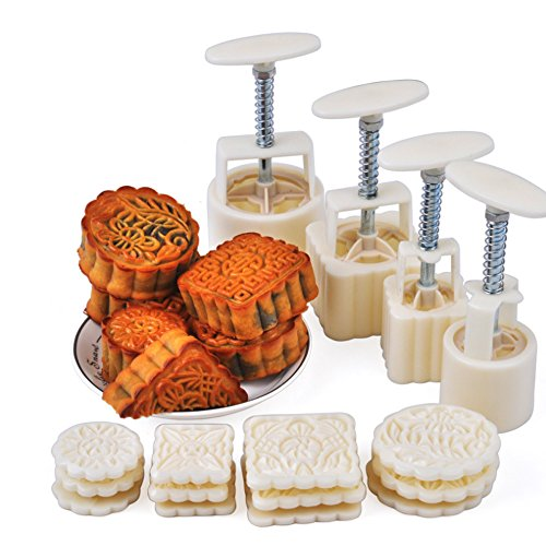 URBEST Mid-Autumn Festival Hand-Pressure Moon Cake Mould With 12 Pcs Mode Pattern For 4 Sets by URBEST