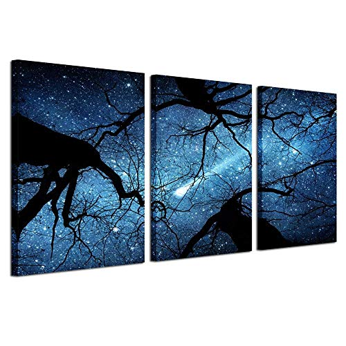 Kreative Arts Night Starry Sky Surrounded Trees Forest Canvas Wall Art Prints Landscape Canvas Picture Wall Decal Home Decoration Ready to Hang 16x24nichx3pcs