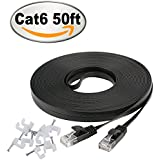 Cat 6 Ethernet Cable 50 ft with Clips- Faster Than Cat5e/Cat5 Flat Internet Network LAN Patch Cord– Cat6 High Speed Computer Wires with Snagless Rj45 Connectors for Router, PS4, Xobx– 50 Feet Black
