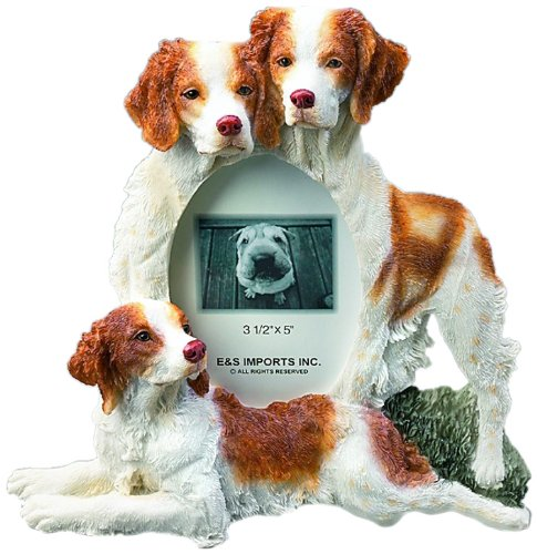 Brittany Spaniel Picture (Brittany Spaniel Gift Picture Frame Holds Your Favorite 3x5 Inch Photo, A Hand Painted Realistic Looking Brittany Spaniel Family Surrounding Your Photo. This Beautifully Crafted Frame is A Unique Accent to Any Home or Office. The Brittany Spaniel Picture Frame Is The Perfect Gift For Brittany Spaniel Owners And Lovers!)