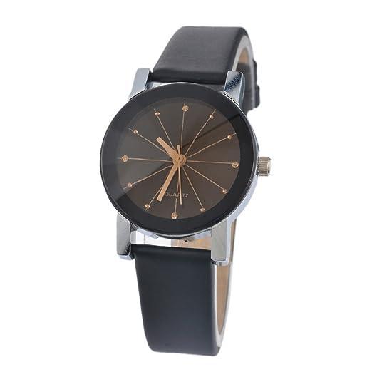 souarts Mujer Negro Piel Sintética Reloj de pulsera estudiantes Reloj Quartz Analógico Reloj maduro pulsera con batería: Amazon.es: Relojes