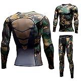 1Bests Men's Running Fitness Elastic Slim Compression Base Layer Long Sleeve Top & Pants Sweatsuits Set