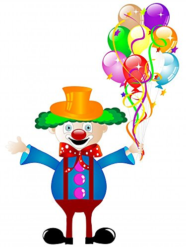 Wallmonkeys Clown with Balloons Peel and Stick Wall Decals WM353464 (24 in H x 18 in W) (Violet The Clown)