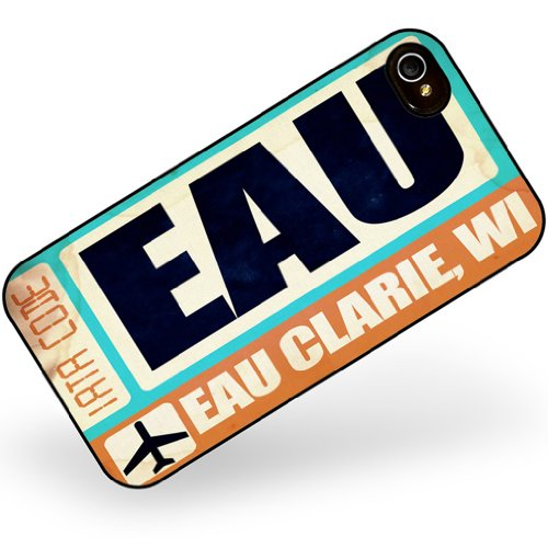 Rubber Case for iphone 4 4s Airportcode EAU Eau Clarie, WI - Neonblond