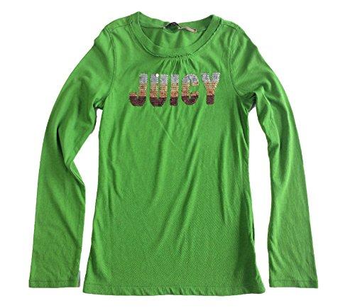 Juicy Couture Girl's Ombre Metallic Sequin Logo Top, Green Run, 8