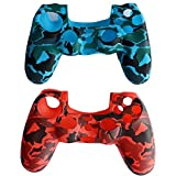 Cheap BFU Silicone PS4 Controller Cover Skin Protector Kits, Case for Sony PlayStation 4 Controller, Set of 2, (Red, Blue)