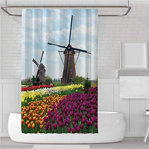 C COABALLA Windmill Decor Ultra Soft Shower Curtain,Bedding Plants of Netherlands Farm Country Heritage Historical Architecture for Showers Stalls,72''W x 72''H