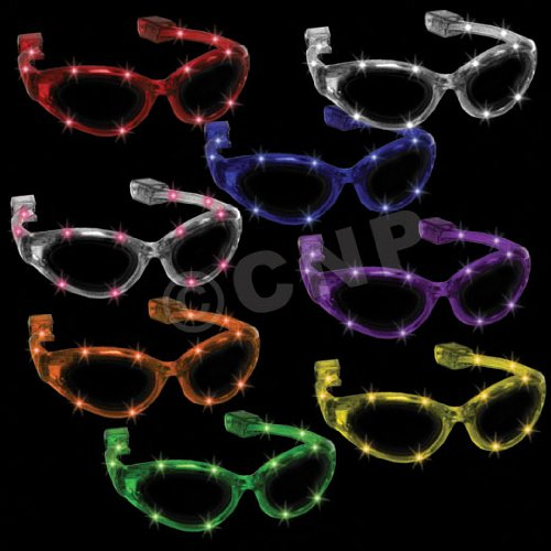 Windy City Novelties Flashing Purple LED - City Party Sunglasses