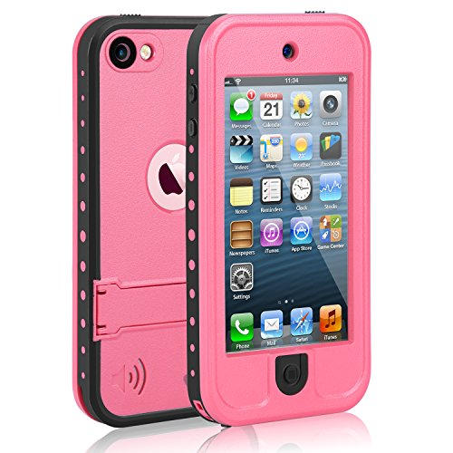 lovely Waterproof Case for iPod 5 iPod 6, Meritcase Waterproof Shockproof Dirtproof Snowproof Case Cover with Kickstand for Apple iPod Touch 5th/6th Generation for Snorkeling Swimming Diving (Pink)