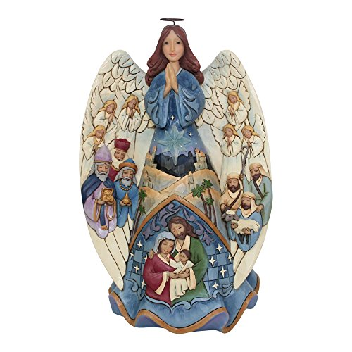 Angel Nativity Statue - Jim Shore Heartwood Creek Enesco Lighted Nativity Angel Musical, Multicolor
