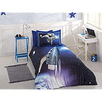 Uquilt Space Astronaut Theme Single Twin Size Kid's Duvet Quilt Cover Set Bedding Linen free shipping