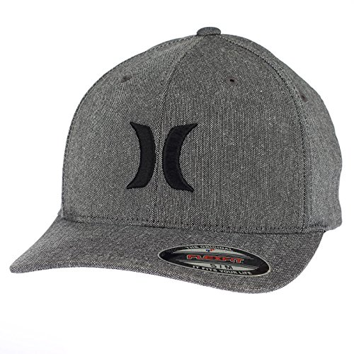 Hurley Flexfit Curve Cap ~ Black Suits Outline (Hurley Hat Embroidered)