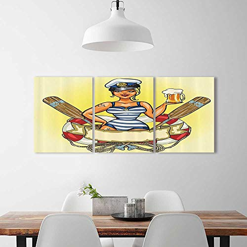 3 Piece Wall Art Painting Frameless Pin Up Sexy Sailor Girl in Lifebuoy with Captain Hat and Costume Glass of Femin Posters Wall Decor Gift W20